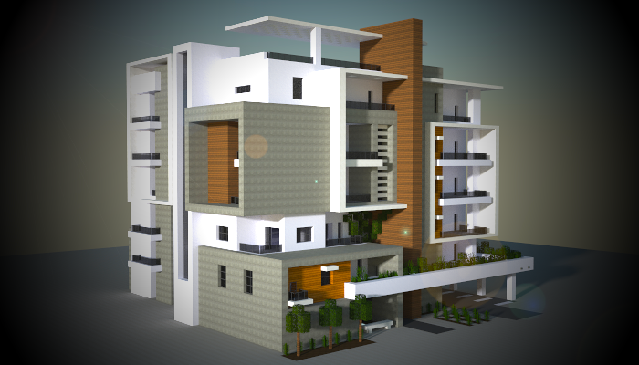 A medium block of modern apartments i made in my minecraft city