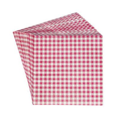 Set 20 Paper Napkins Pink Gingham > decorated napkins To Buy From Jeremy's Home Store