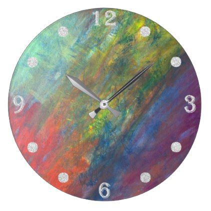 Resilient decor watercolor rainbow abstract large clock cyo resilient decor watercolor rainbow abstract large clock cyo customize design idea do solutioingenieria Gallery