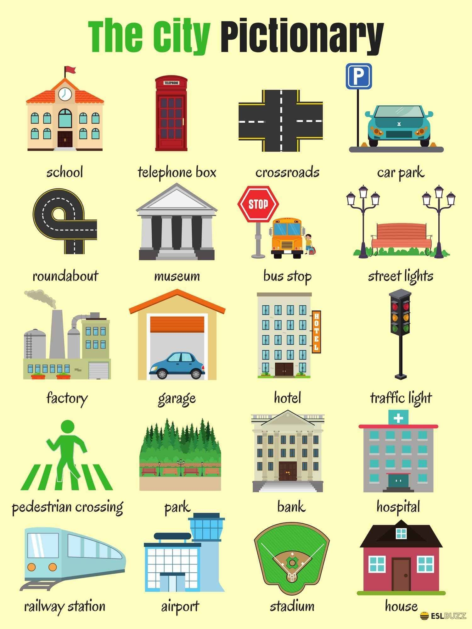 Places and shops around Town or City vocabulary in English ...