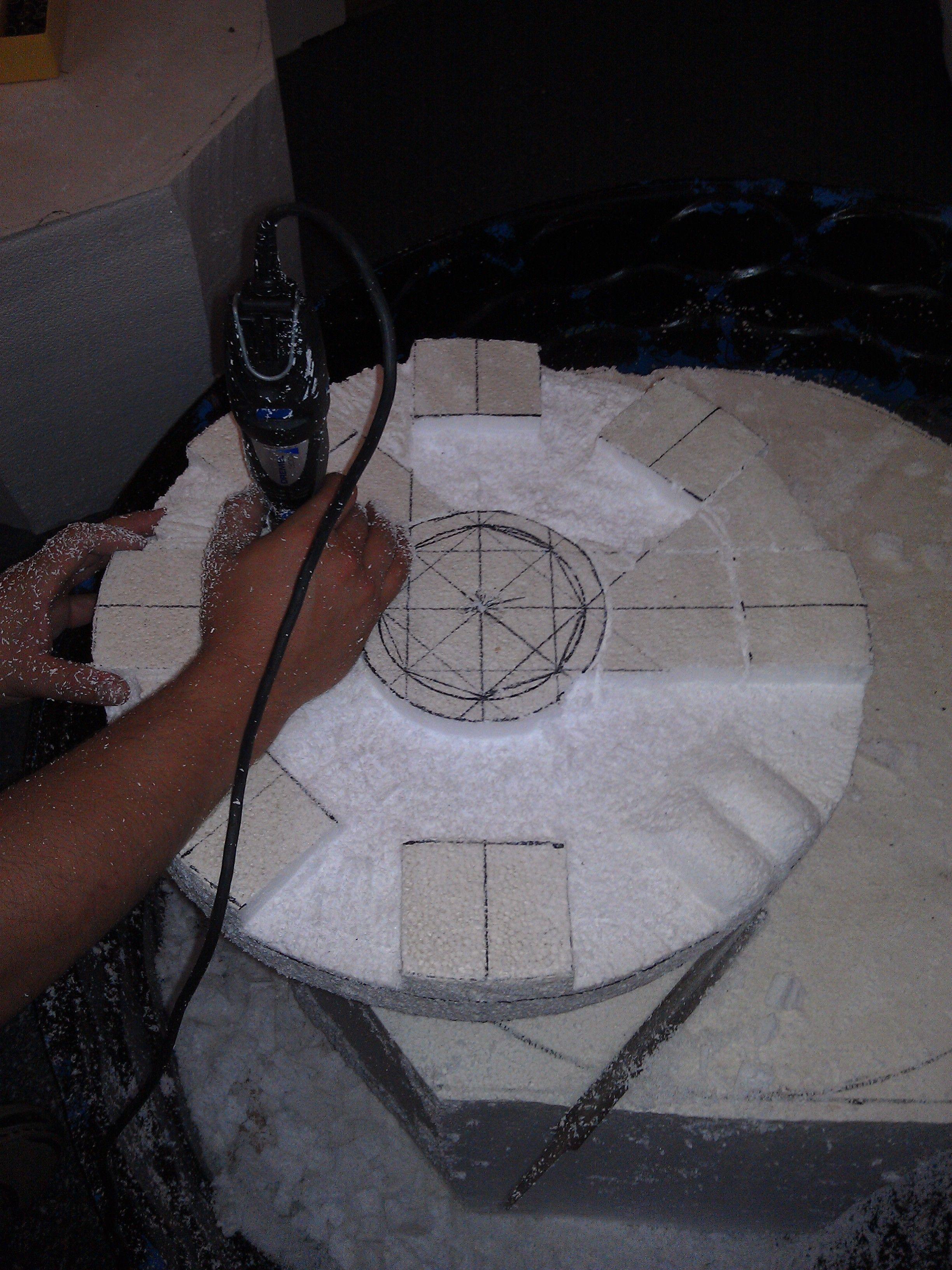 Carving the foam 3 tier fountain prop making foam props