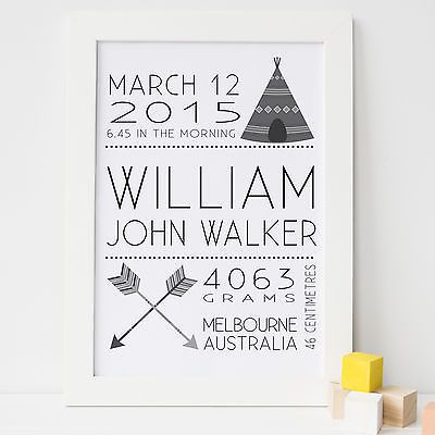 A4 Personalised Birth Announcement, Nursery Print, Bedroom Wall Art - Tribal