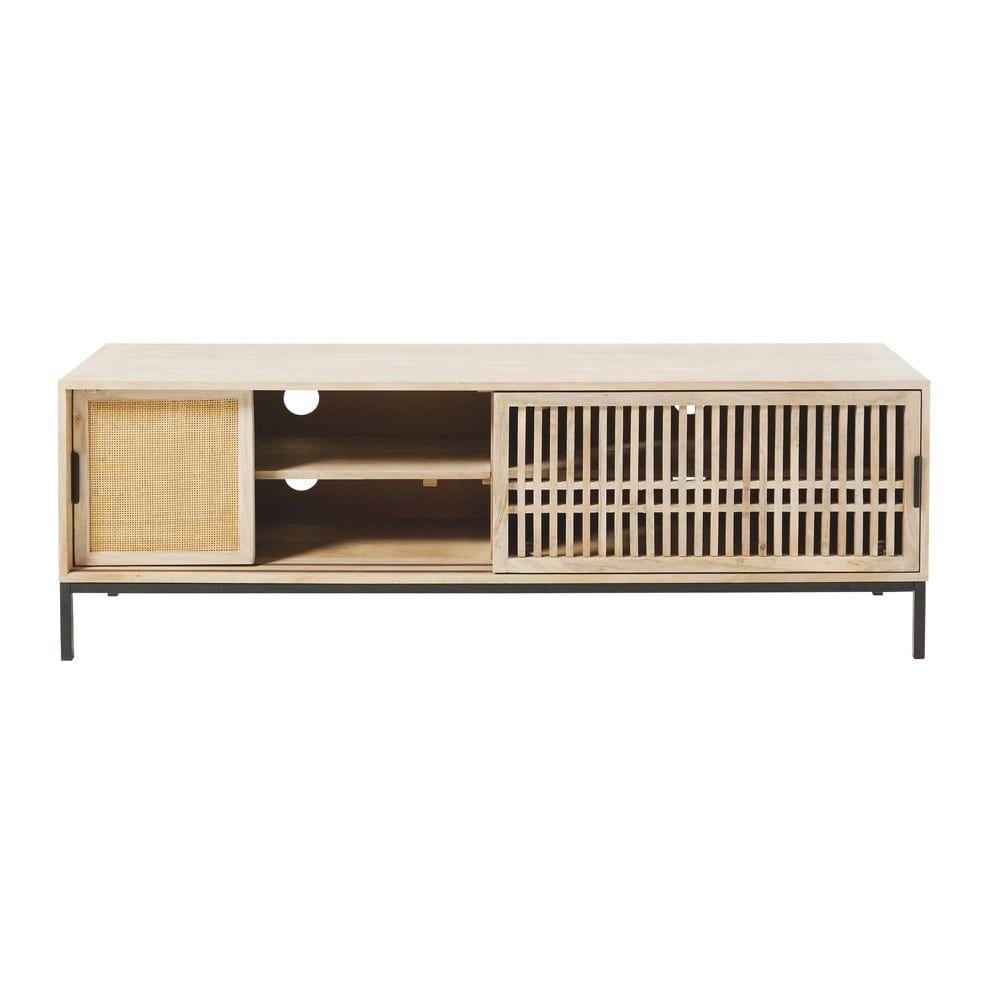 Meuble Tv 2 Portes En Manguier Massif Et Rotin Helios Solid Mango Wood Tv Design Home