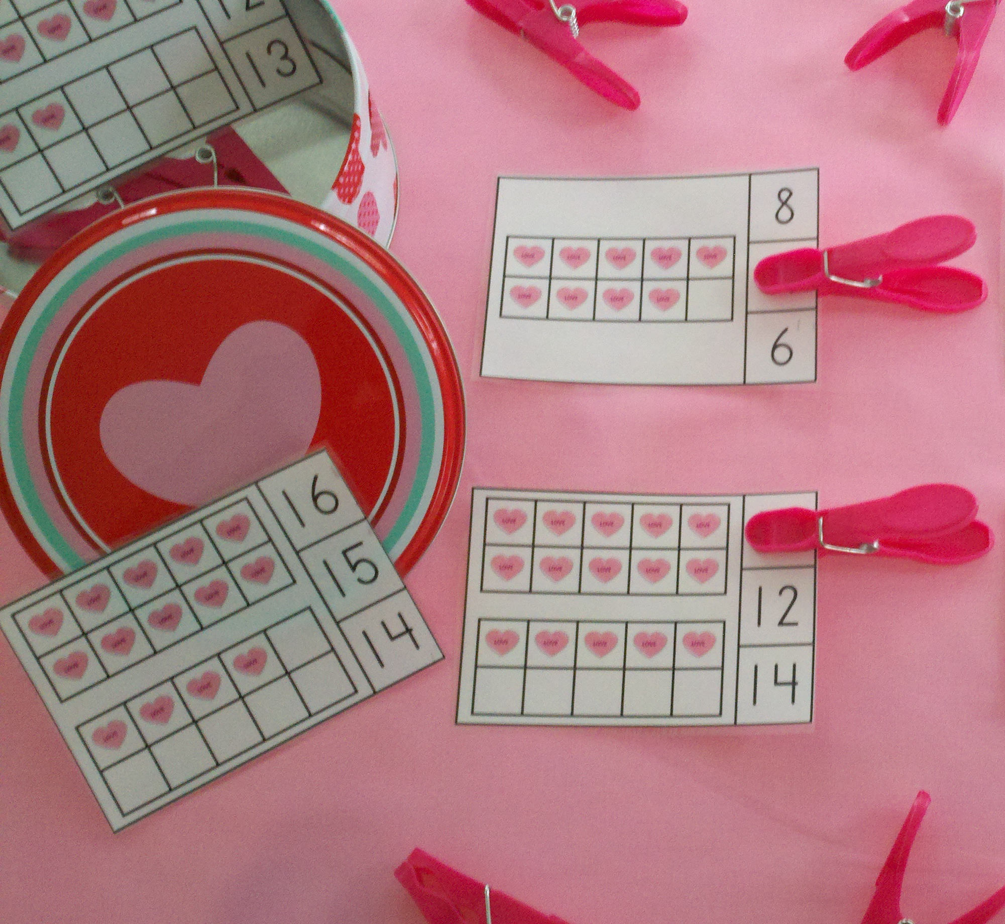 Valentine Candy Hearts Ten Frames Math Centers Quantities