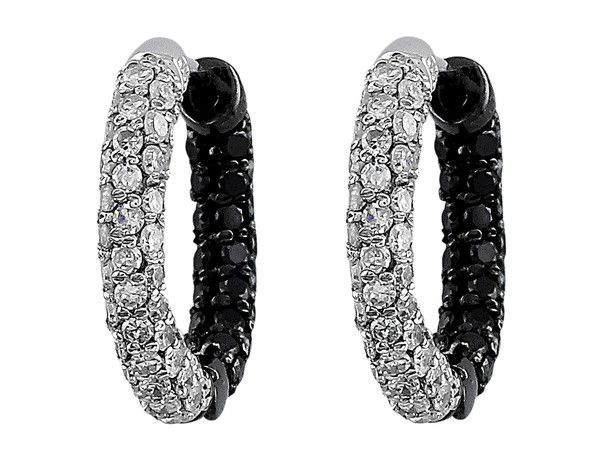 435ea2c74 White and Black Diamond Hoop Earrings | Fancy Cuts and Colored ...