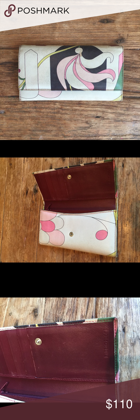 AUTHENTIC EMILIO PUCCI WALLET Pucci printed leather wallet with burgundy leather inside. Room for credit cards, lots of storage and zip pocket for coins. Emilio Pucci Bags Wallets