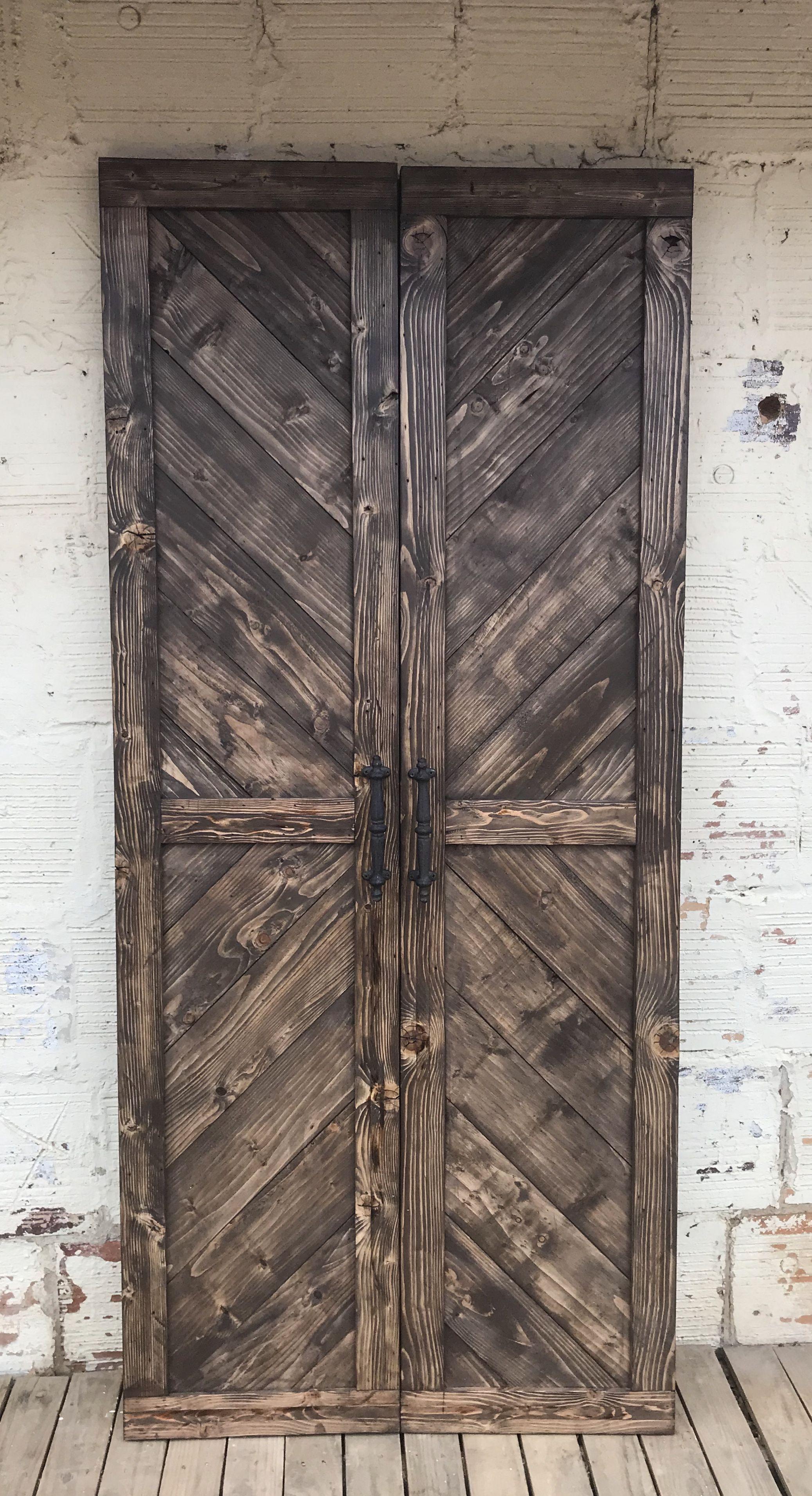 Diy herringbone pair of sliding barn doors industrial
