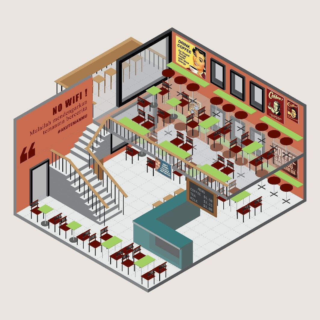 Layout Toko Bangunan Coffe Shop Coffee Shop Coffeeshop Isometric Building Build