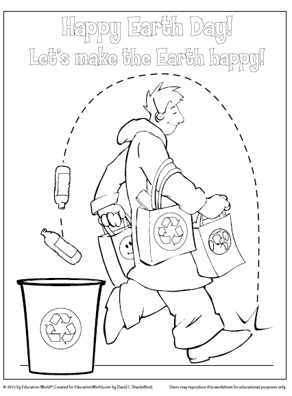 Earth Day Coloring Sheet: recycling = bucket filling