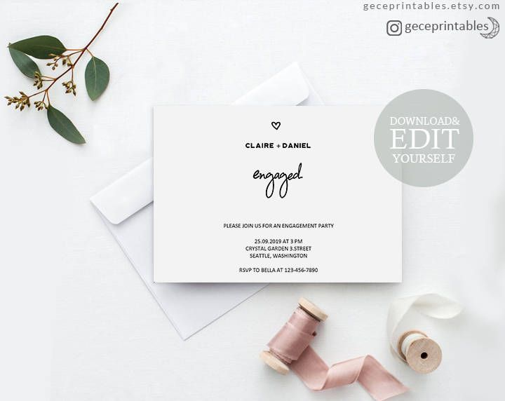 Editable Engagement Party Invitation Printable WeRe Engaged