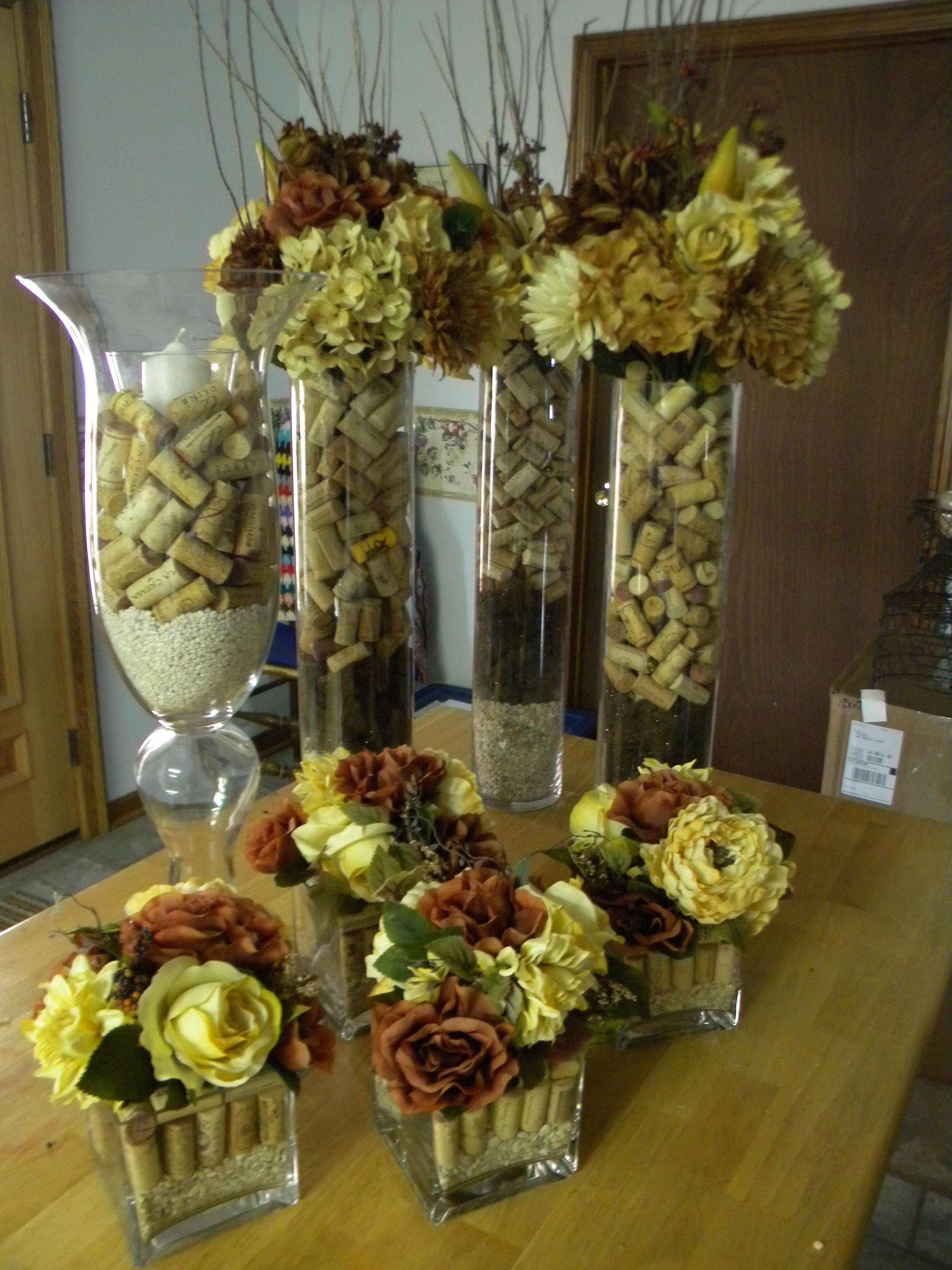 wine cork for weddingbut with purple hydrageneas instead