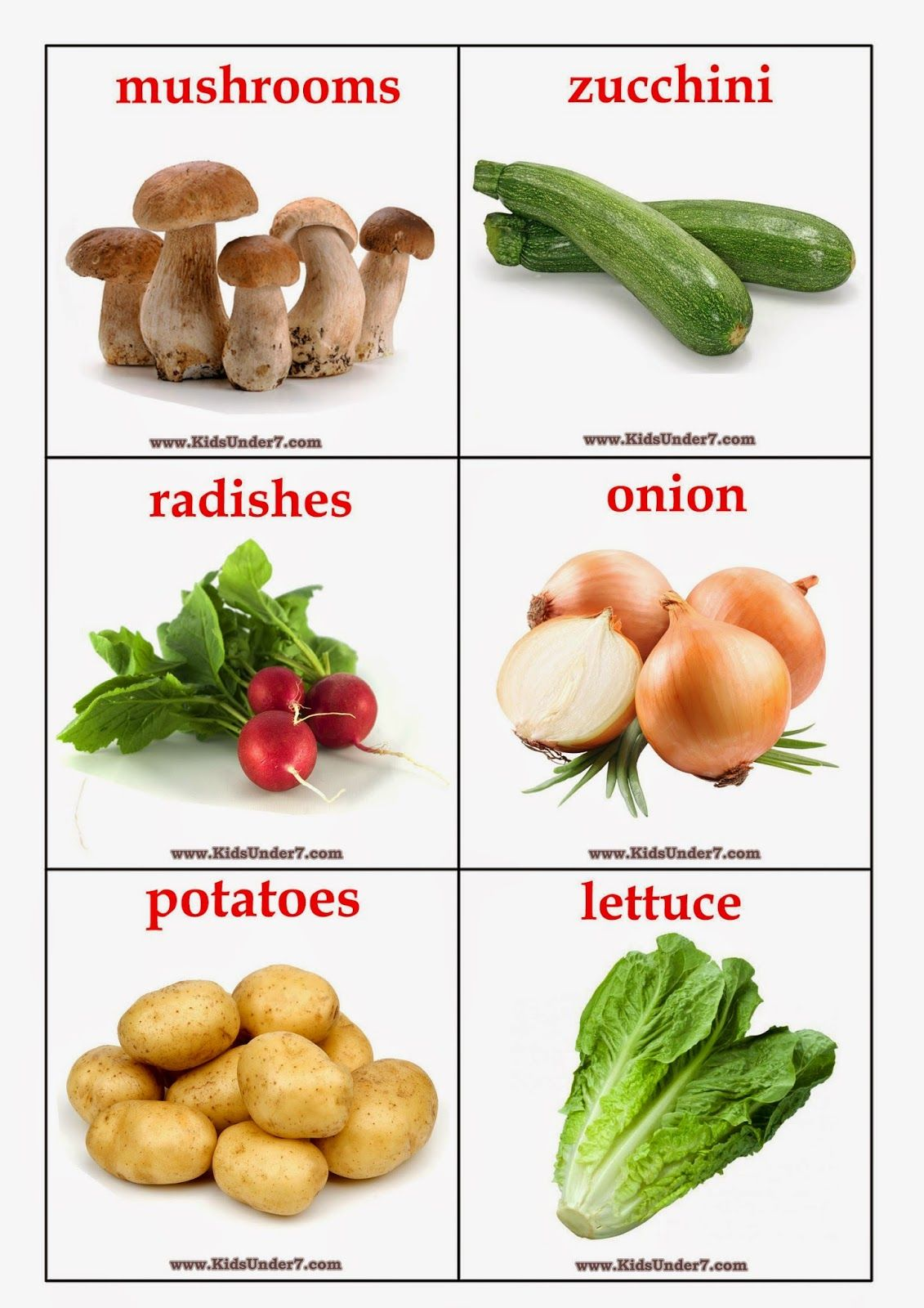 Kids Under 7 Vegetables Flashcards