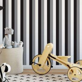 Papel de parede listrado preto cinza e branco