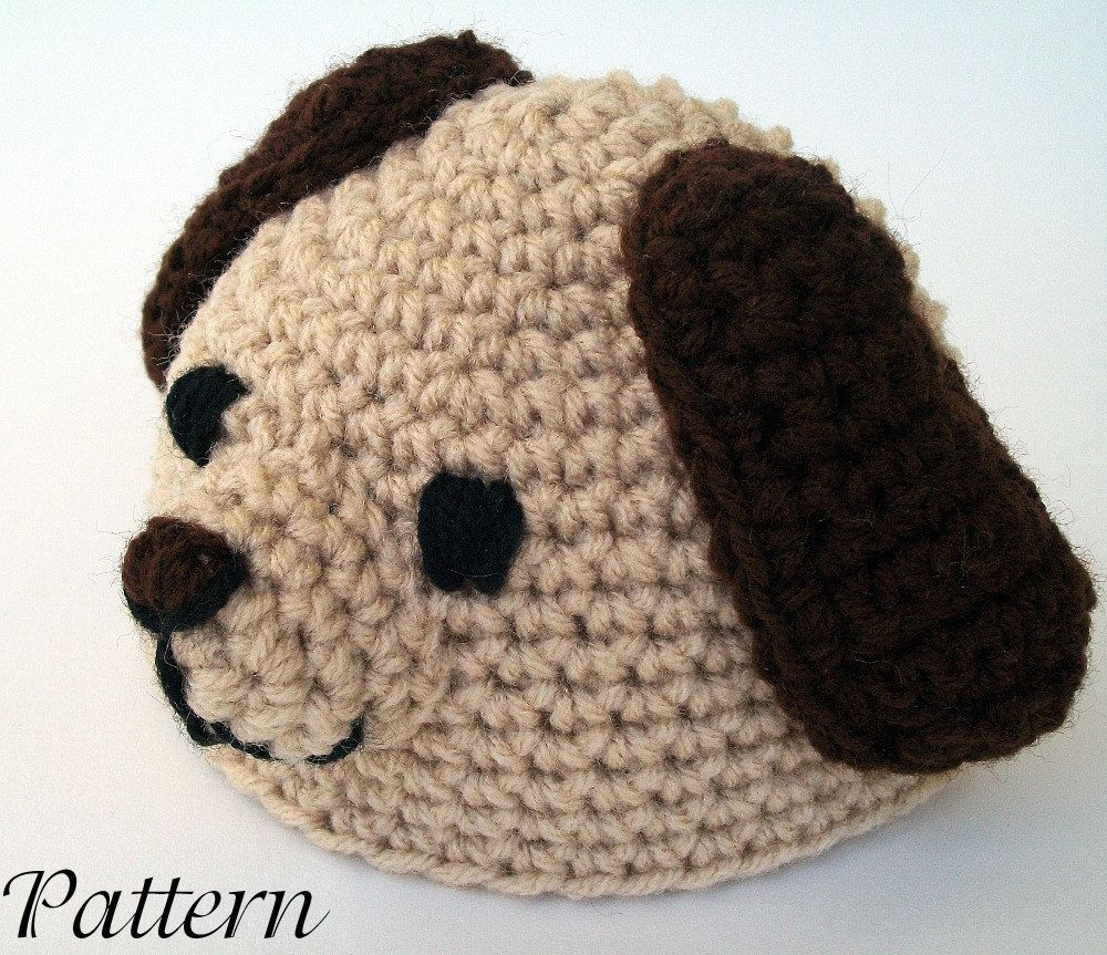 Puppy Hat PDF Crochet Pattern newborn-2 month size beanie newborn infant  head covering winter costume photography prop dog pet cute.  3.00 8d35714122a