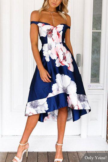 18a05968ac0ac Off Shoulder Random Floral Print High-waist Dress