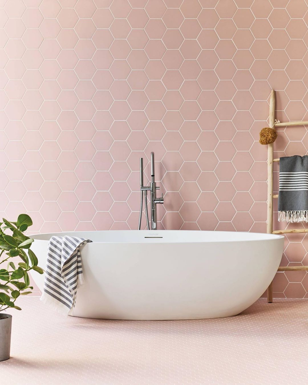 Claybrook Uk On Instagram This Room Is Simply A Little Bit Of Luxe Heaven Our Hayek Hex Porcelain Pink Bathroom Tiles Free Standing Bath Porcelain Flooring