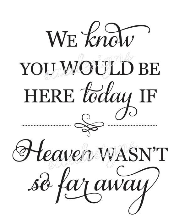 photo about We Know You Would Be Here Today Free Printable named Wedding ceremony Working day 2 We notice oneself would be below at present if heaven