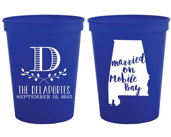 Monogrammed State Wedding Favors Cups Custom Monogram Personalized Bridal Shower Gift Alabama