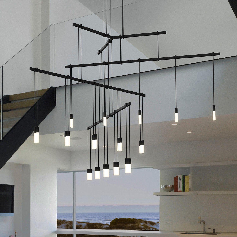 suspenders 36 inch 4 tier tri bar 15 light led suspension system by sonneman - Sonneman Lighting
