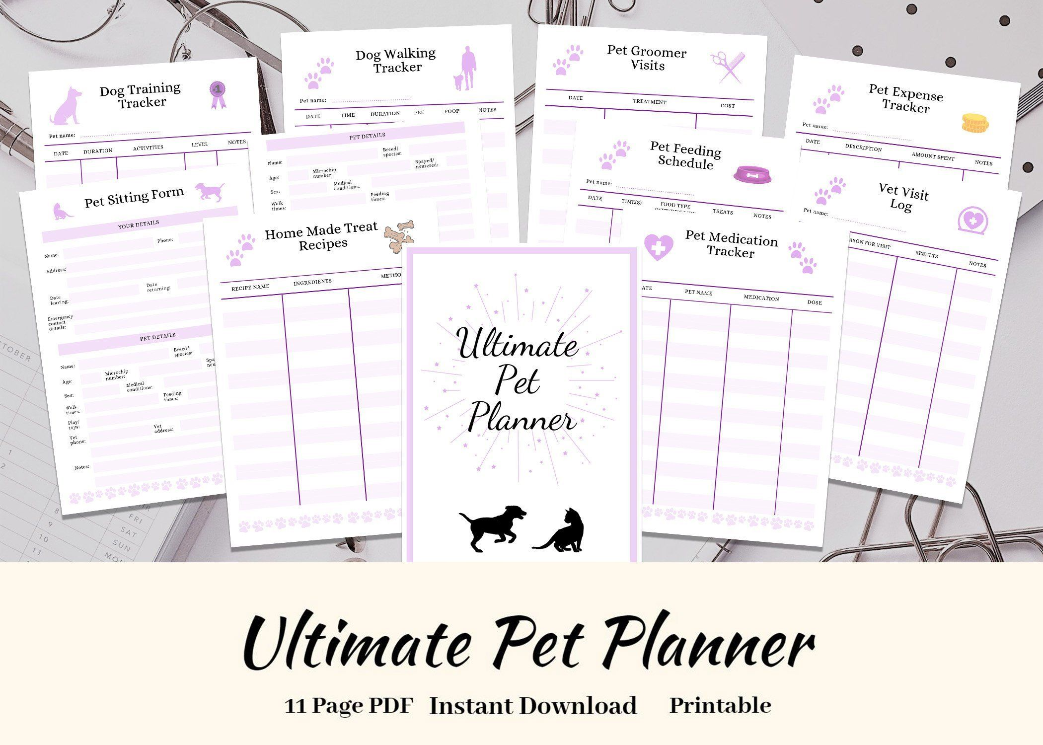ultimate pet planner binder insert  pet sitting form  printable pdf instant download  pet binder