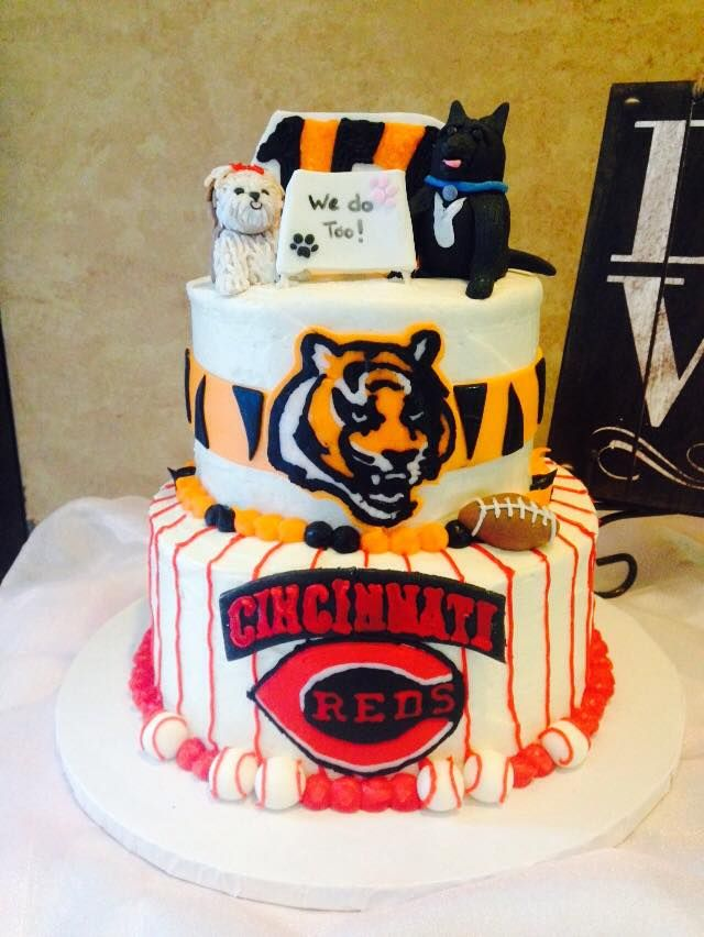 Cincinnati Bengals Red Football Baseball Grooms Cake With Dogs Pets By Sweetest Things In Cincy