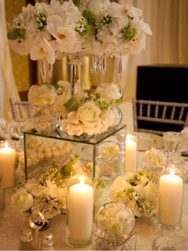 Large Mirrored Cube Wedding Floral Centerpieces Wedding Centerpieces Wedding Table