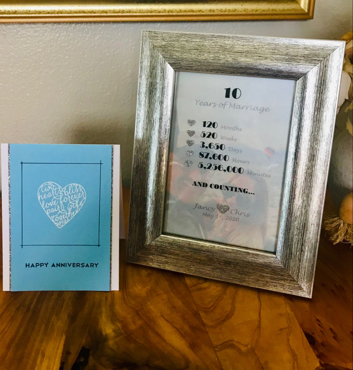 10th Anniversary Card And Frame In 2020 Anniversary Cards Cards 10 Anniversary