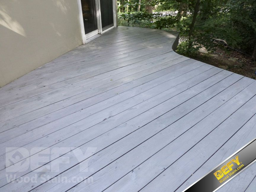 Deck Stained With Defy Extreme Wood Stain In Driftwood Gray