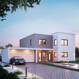 massivhaus kern haus futura bauhaus eingangsseite am abend. Black Bedroom Furniture Sets. Home Design Ideas