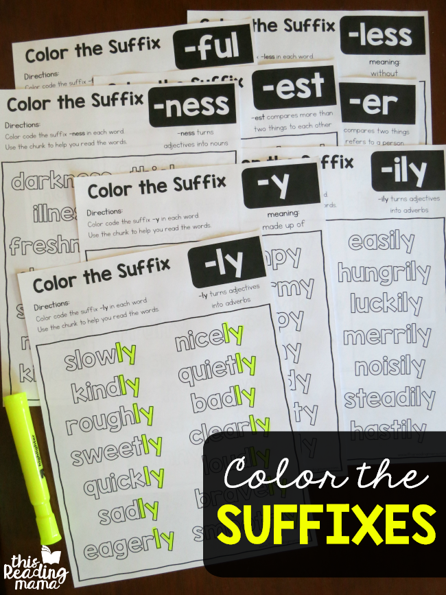 Color the Suffixes Worksheets | Suffixes worksheets, Worksheets and ...