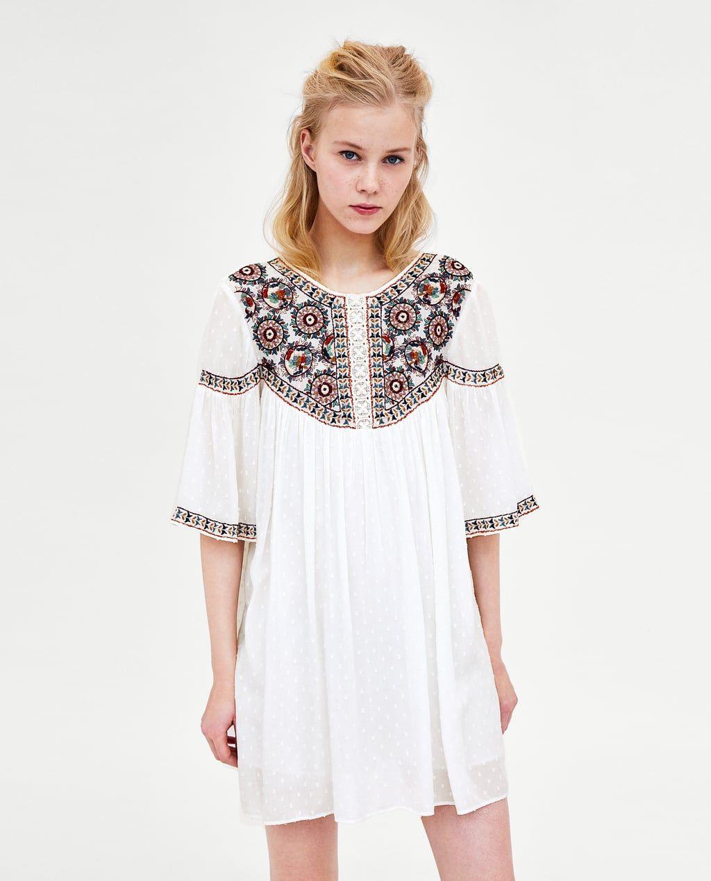 Vestido plumeti bordado mujer