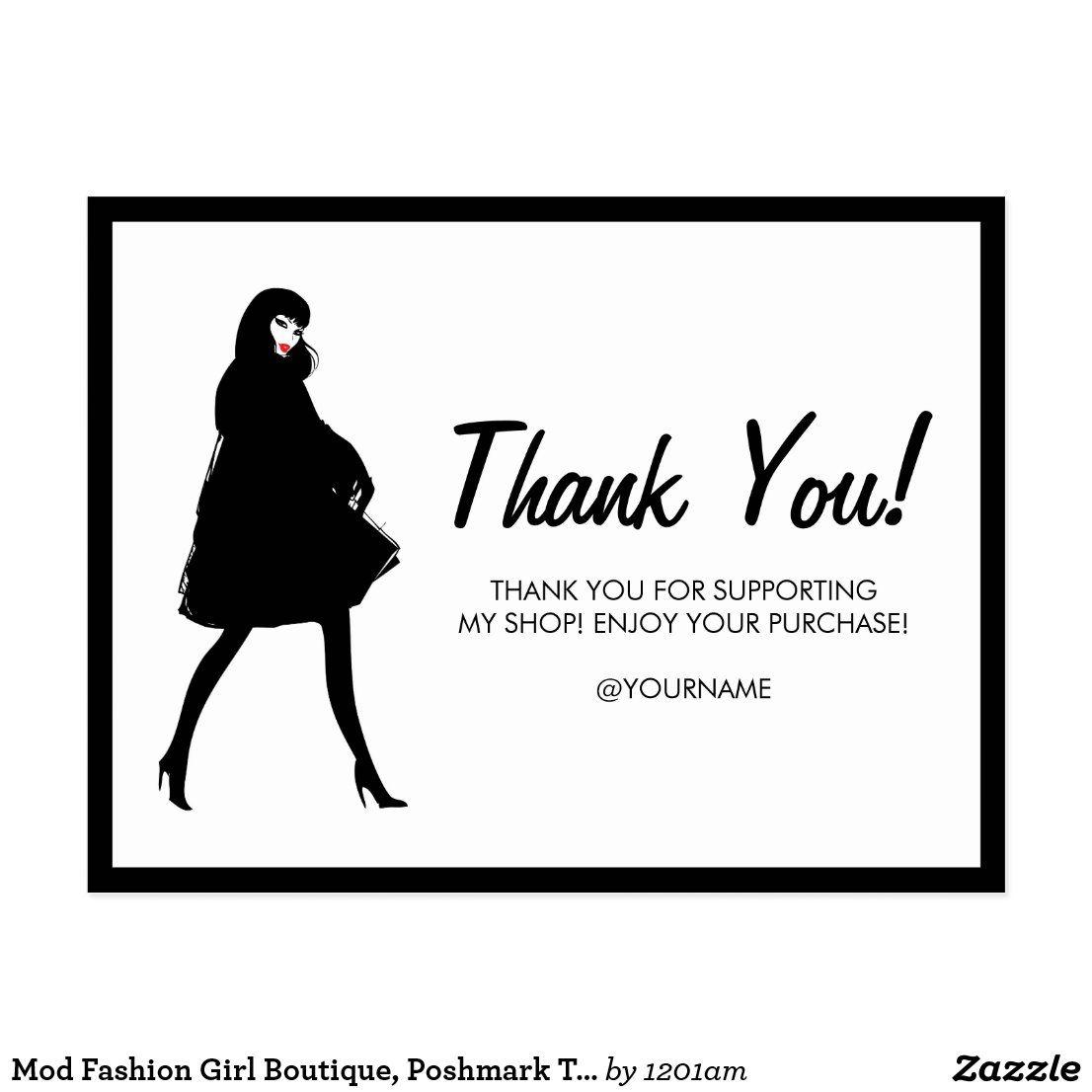 Mod fashion girl boutique poshmark thank you postcard