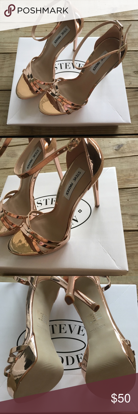 3a4a5121c3d7 Steve Madden Heels Steve Madden Cassandra Ankle strap sandal Rose Gold Size  9 New in box Steve Madden Shoes Heels