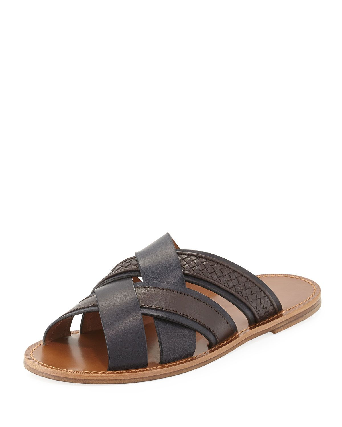 8a01241cd88f Men s Designer Sandals   Flip Flops at Neiman Marcus. Woven Leather  Crisscross Sandal
