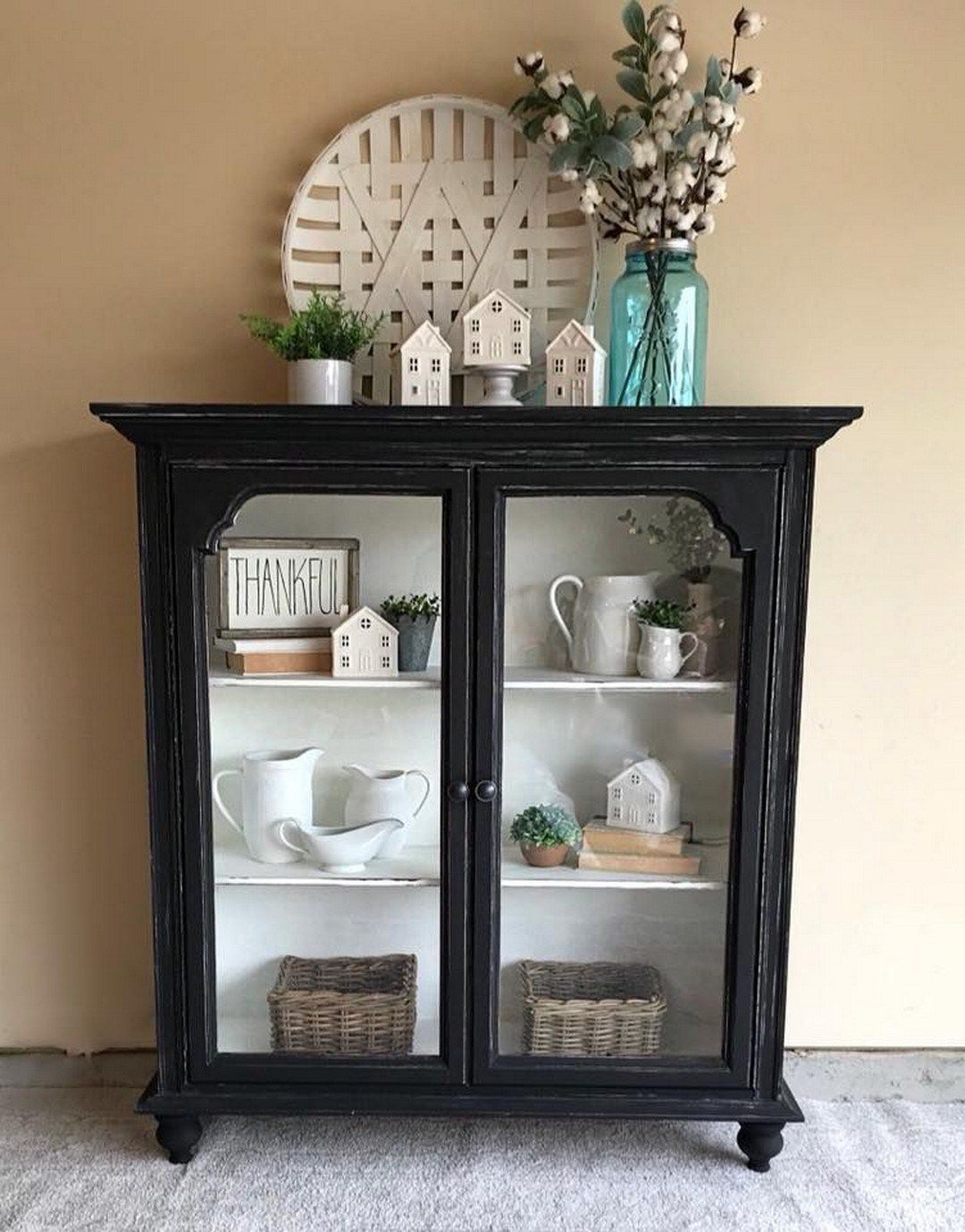 48 DIY Farmhouse Display Cabinet From Old Chest of Drawers – Farmhouse Room#cabinet #chest #display #diy #drawers #farmhouse #room