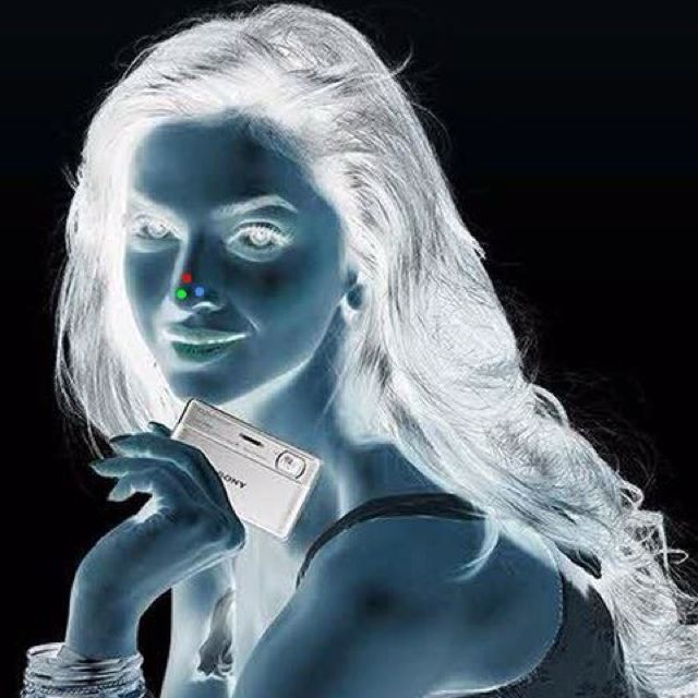 Amazing!~  Stare at red dot on her nose for 30 secs.Look at ceiling or another plan white object and blink rapidly.