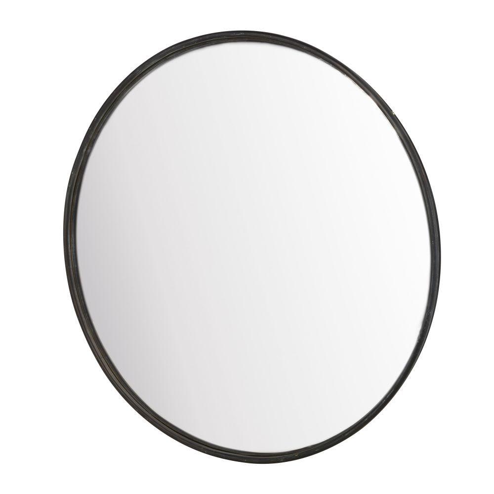 Specchio rotondo convesso in metallo nero, 94 cm Specchi