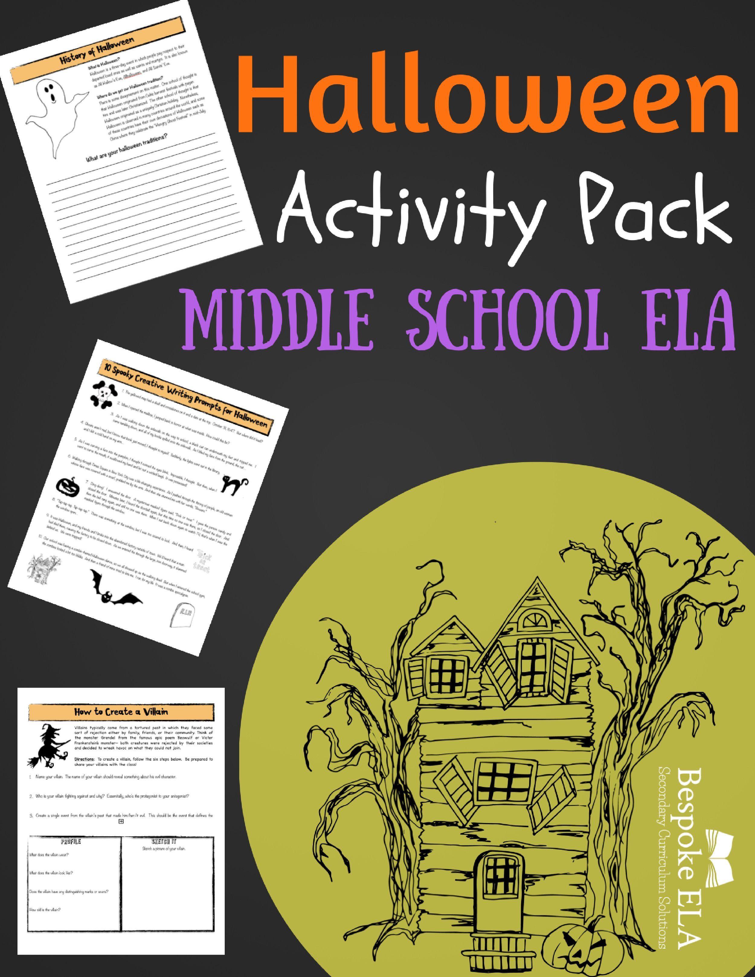 Halloween Activity Bundle For Middle School English
