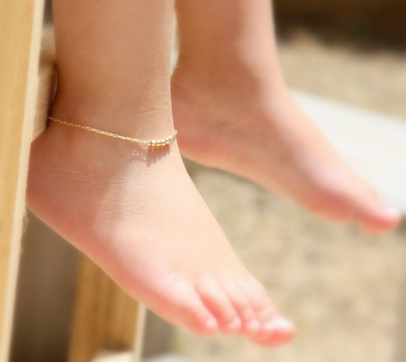 Baby Anklet Jewelry Gold Ankle Bracelet Shower Gift Flower By Juljewelry On Etsy