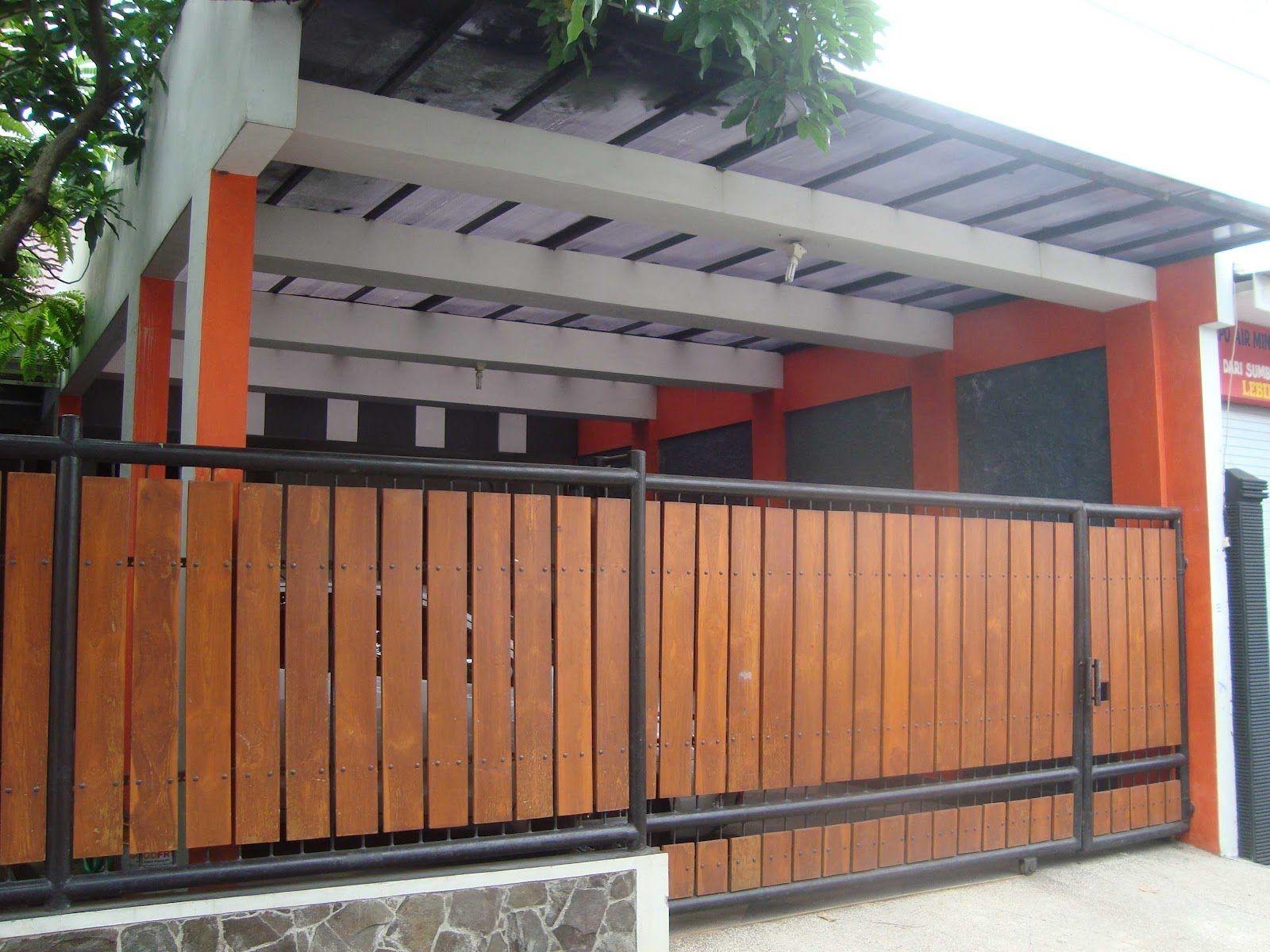 Contoh Pagar Minimalis Kayu Rangka Besi Rumah Minimalis Modern