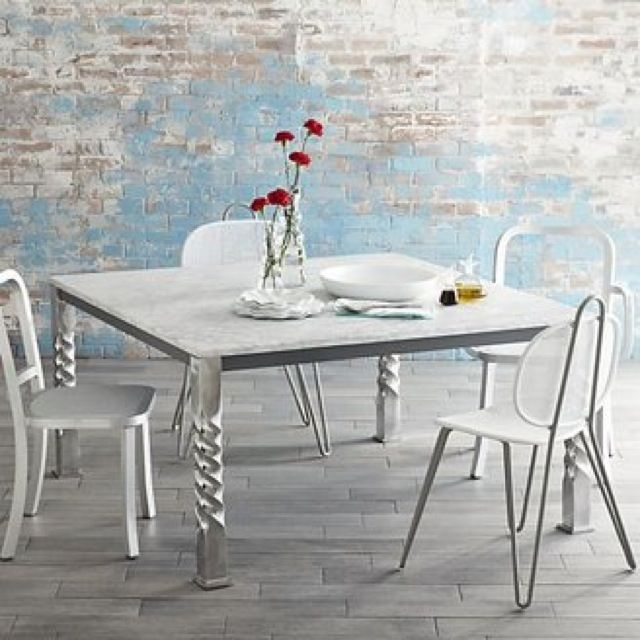 Paola Navone Crate And Barrel Mallorca Square Marble Top Dining Table    Saved By Chic N