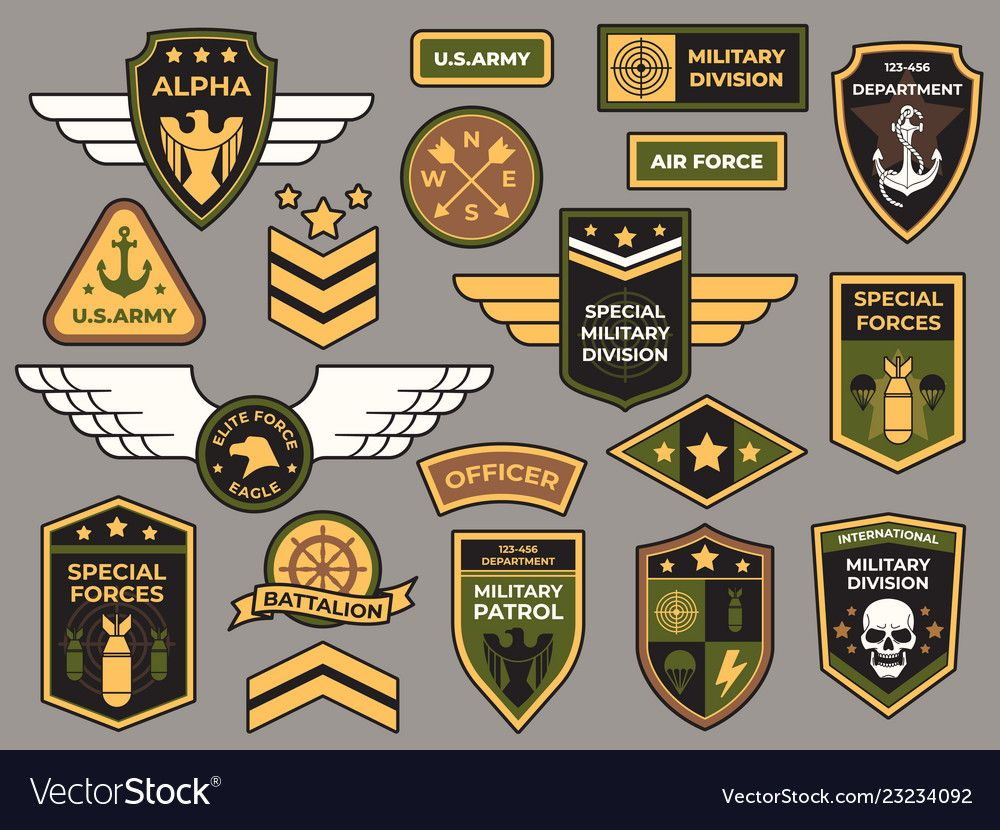 Army badges. Military patch, air force captain sign and