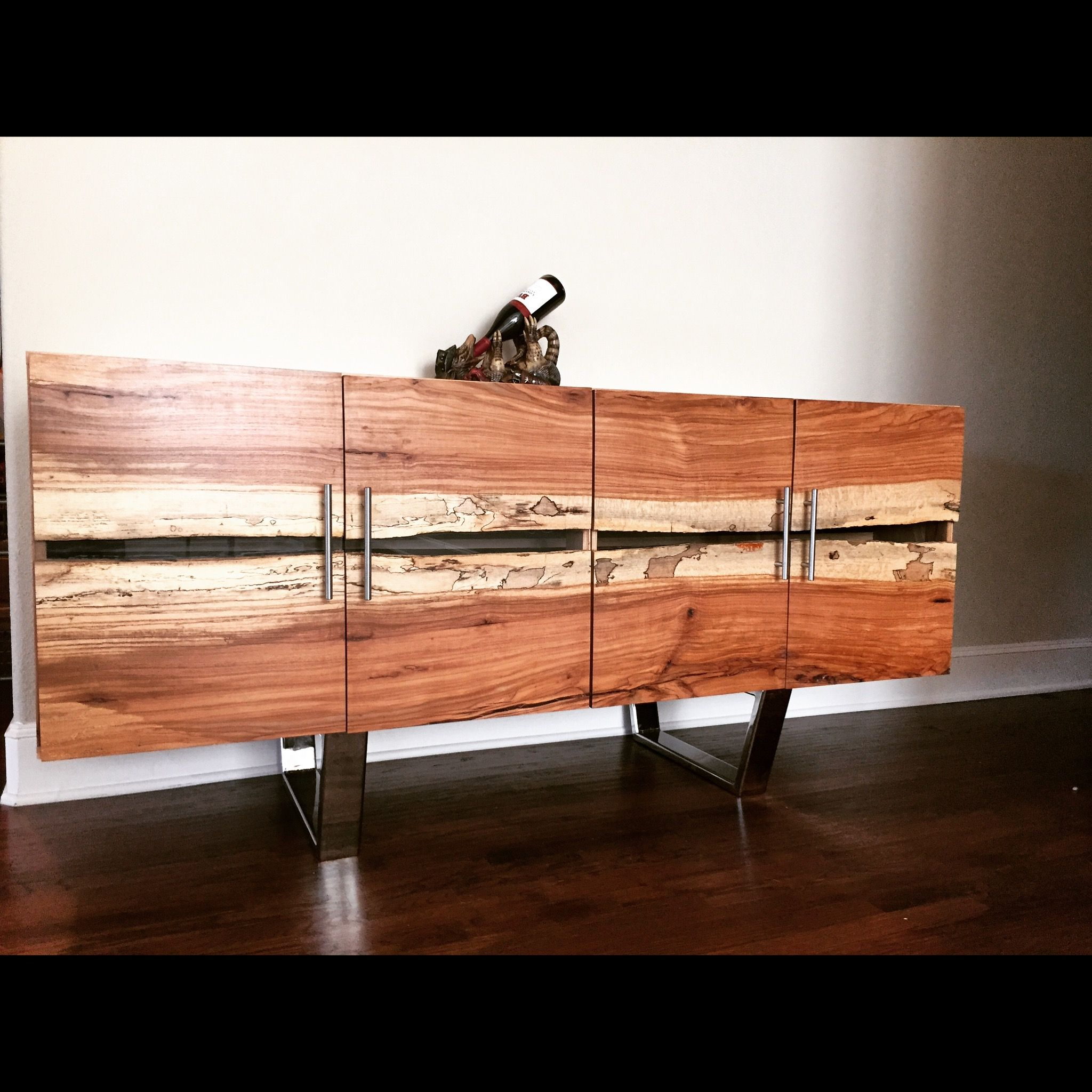 Bookmatched live edge pecan buffet pecans and