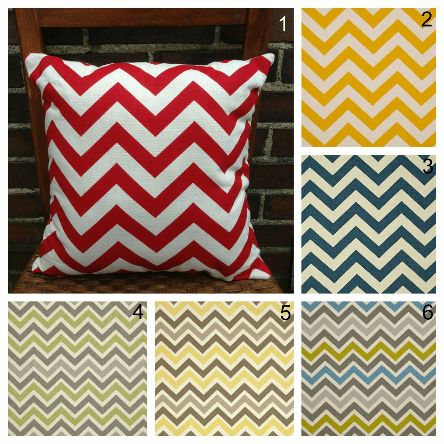 Red Yellow and Gray Chevron Decorative Throw Pillow Covers Couch Pillow Cover Sofa Pillow Cover Zippered