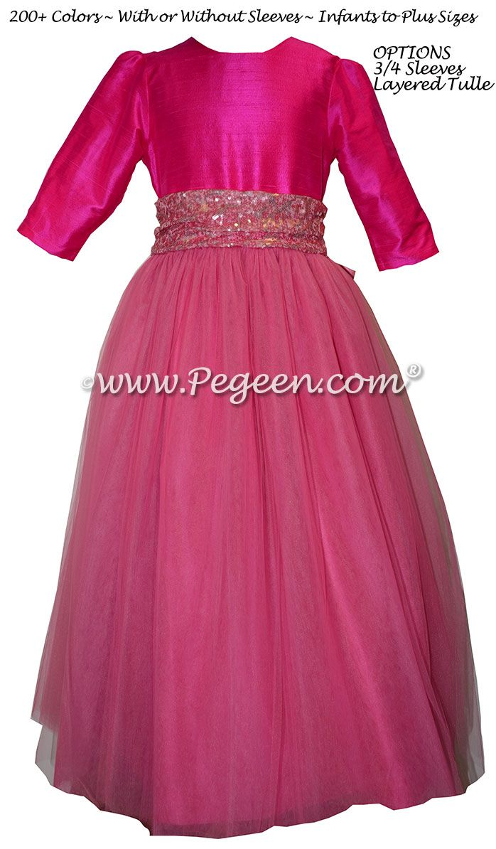 Boing Hot Pink And Bubblegum 34 Sleeves Tulle Flower Girl Dresses
