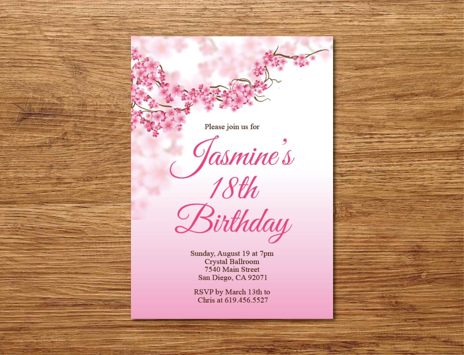 Any Age Pink Birthday Invite 18th Invitation Printable Cherry Blossoms Surprise Party By BlessedDayPaper On