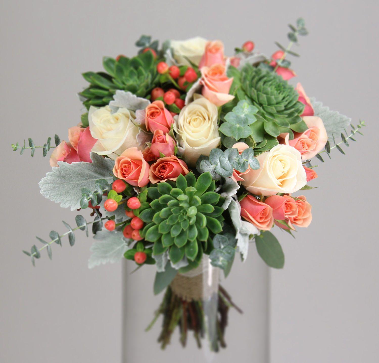 succulent garden Coral wedding flowers, Bridesmaid