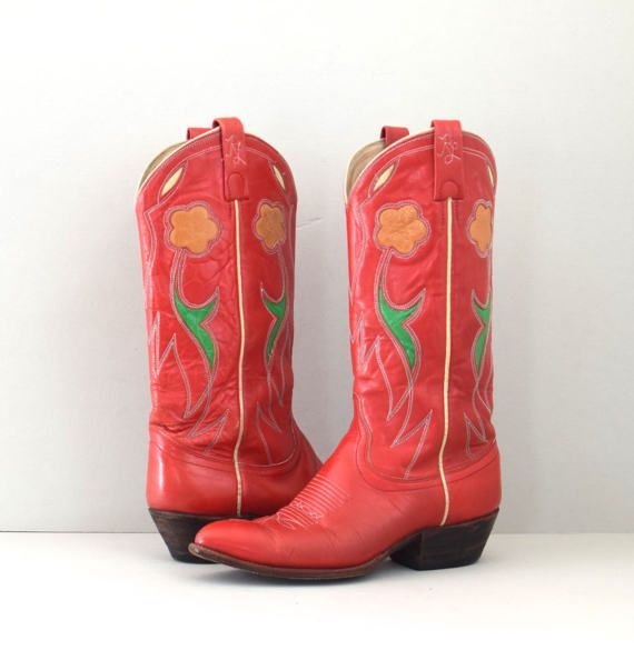 a88a6e8f5bc Sandia | 70s western inlay boots with flowers | red ralph lauren ...