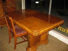 Antique Art Deco Waterfall Dining Room Table 6 C
