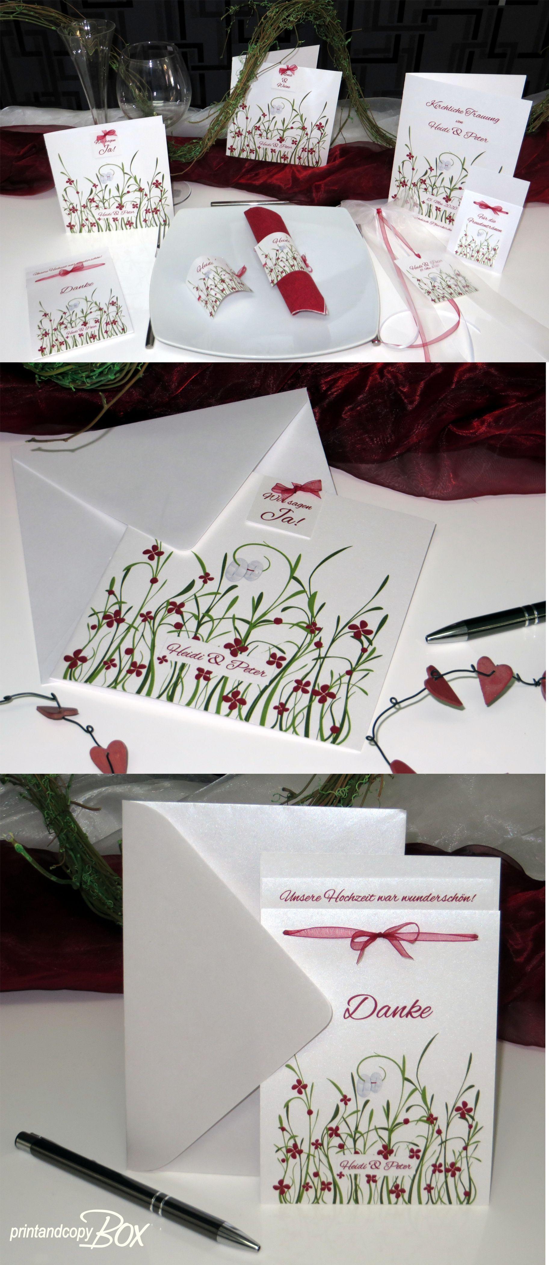 Moderne Hochzeitskarten In Rot Mit Wiesenmotiv Hochzeitspapeterie